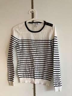 Forever 21 striped sweater black and cream
