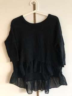 American Eagle black chiffon high low knit sweater
