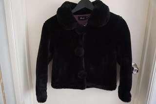 Fake fur black outer coat jacket AU 6-8