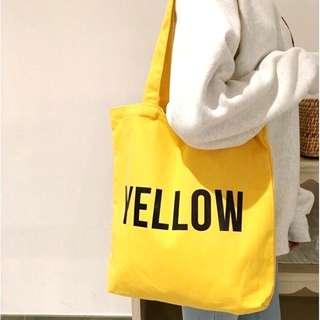 Yellow, Black, White Tote Bag