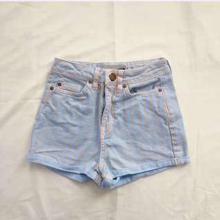 TOP SHOP STRIPED DENIM SHORTS