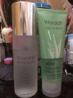 Wardah white secret pure treatment essence + aloe facial wash