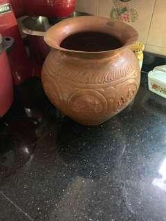 Vintage copper carved mahalaxmi large pot