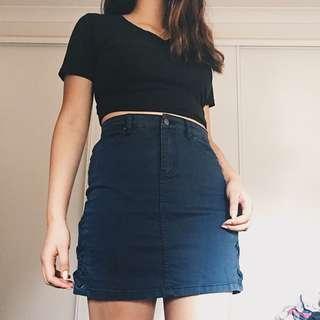 blue lace detail mini skirt