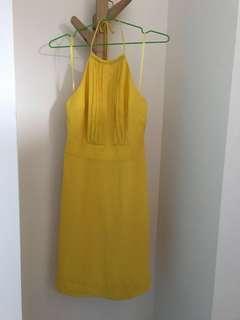 banana republic halter yellow dress削肩綁帶露背亮黃洋裝