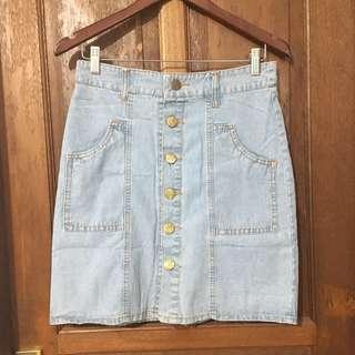Rok jeans button light blue denim