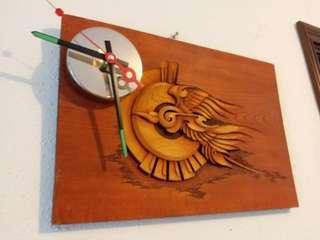 木雕火鳳凰加石英時鐘40x27 cm