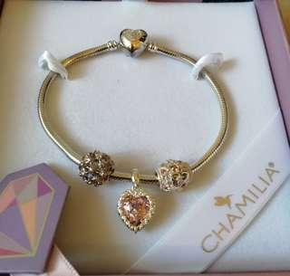 Chamilia Silver Charm Bracelet Facets of Love 4pc Gift Set