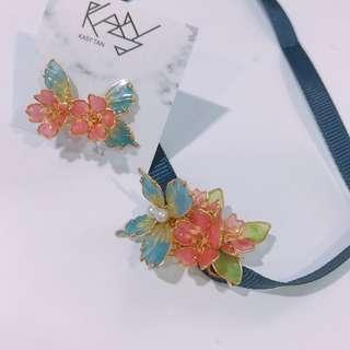 Sakura butterfly earring and choker set