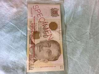 Singapore $10,000 specimen Bank note