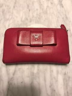 Authentic Prada Pink Saffiano Wallet with Bow