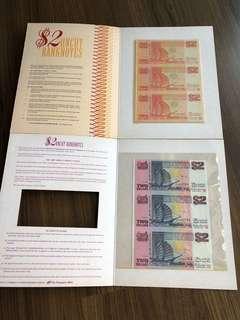 "F032 - Singapore $2 ""Ship"" Uncut Banknote Set (2 set)"