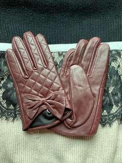 真皮短手套