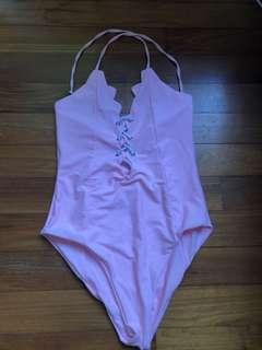 Pink Swimsuit Swimming costume Tie Up