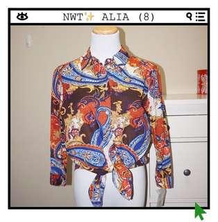 *NWT✨* ALIA 100% cotton 3-Quarter Sleeve Button Down Shirt Women Size 8
