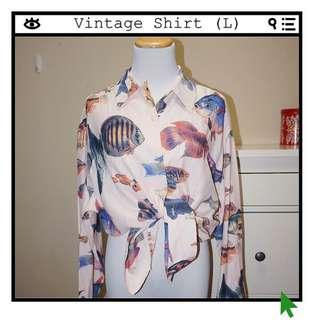 *Great Condition* VINTAGE Fish Print Button Down Shirt (Fits Like a L)