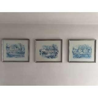 Set of Three Prints of Loire Valley