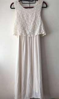 斯文連身裙 白色 長裙