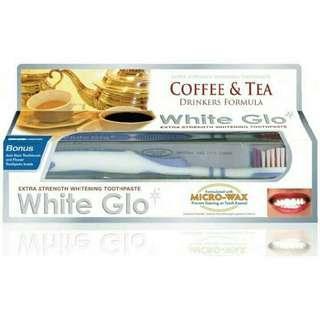 White Glo Extra Strength Whitening Toothpaste 150g + toothbrush+ Dental Flosser + toothpicks ❗