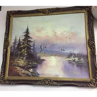 OIL PAINTING ON CANVAS - BIRDS AND FOREST