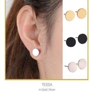 Round Disc Stud Earrings