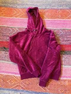 Crop Hoodie Ribbed Velvet