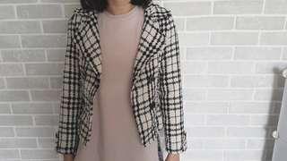 Checkered Tweed cropped blazer jacket