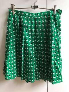 Pleated Apple Print Skirt