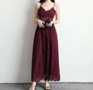 Chocochips Maroon / Red lace long dress