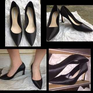 Charles and Keith black heels black shoes office heels school shoes formal shoes
