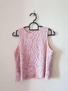 🚚 SSD pink lace sleeveless blouse