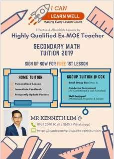 Ex-MOE teacher (Secondary school Mathematics Tuition)