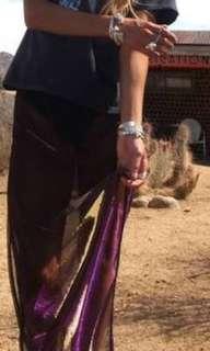 Rat and boa sheet metallic skirt
