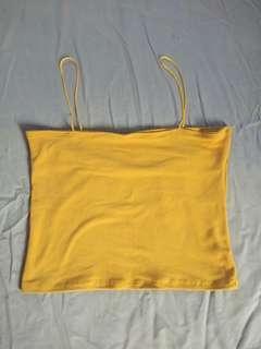 String Bandeau Top Mustard
