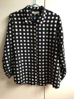 Vintage Black & White Polka Dot Skirt