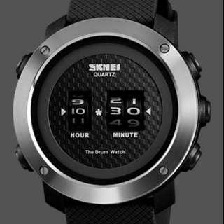 ⌚360° ROTATING DRUM BLACK DIAL ANALOGUE WATCH⌚