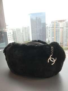 Vintage Chanel rabbit fur evening bag