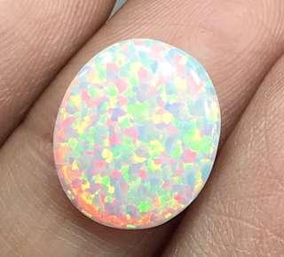 🚚 1.50 cts White Opal Oval Lab 10.6 x 13.6 mm Loose Gem