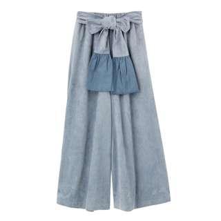 日本 merry jenny 冰藍色 絨面 蝴蝶 褲 trousers