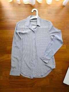 Zara striped blouse, Zara striped shirt, white/blue, Size S