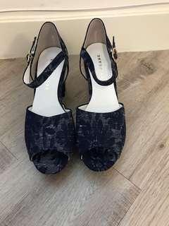 寶藍色花花女神鞋