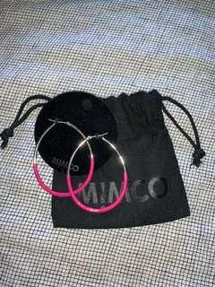 Silver and pink mimco hoop earrings