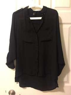 Forever 21 black button down sheer blouse
