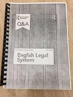 A levels AS Law routledge revision Q&A English legal system