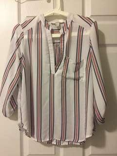 Stripe v neck white blouse