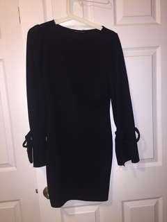 Zara long sleeve bodycon dress tie bell sleeves
