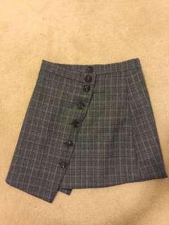 Asymmetrical grey plaid A line skirt