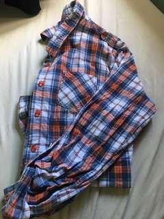 Plaid long sleeves polo
