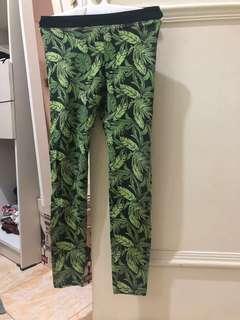 Celana legging hijau berdaun