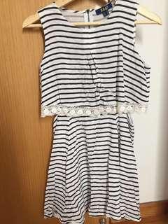 Black-and-White Striped Romper Dress